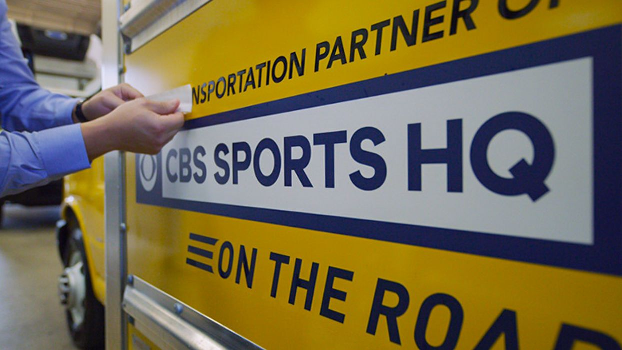 cbs sports hq decal on penske truck