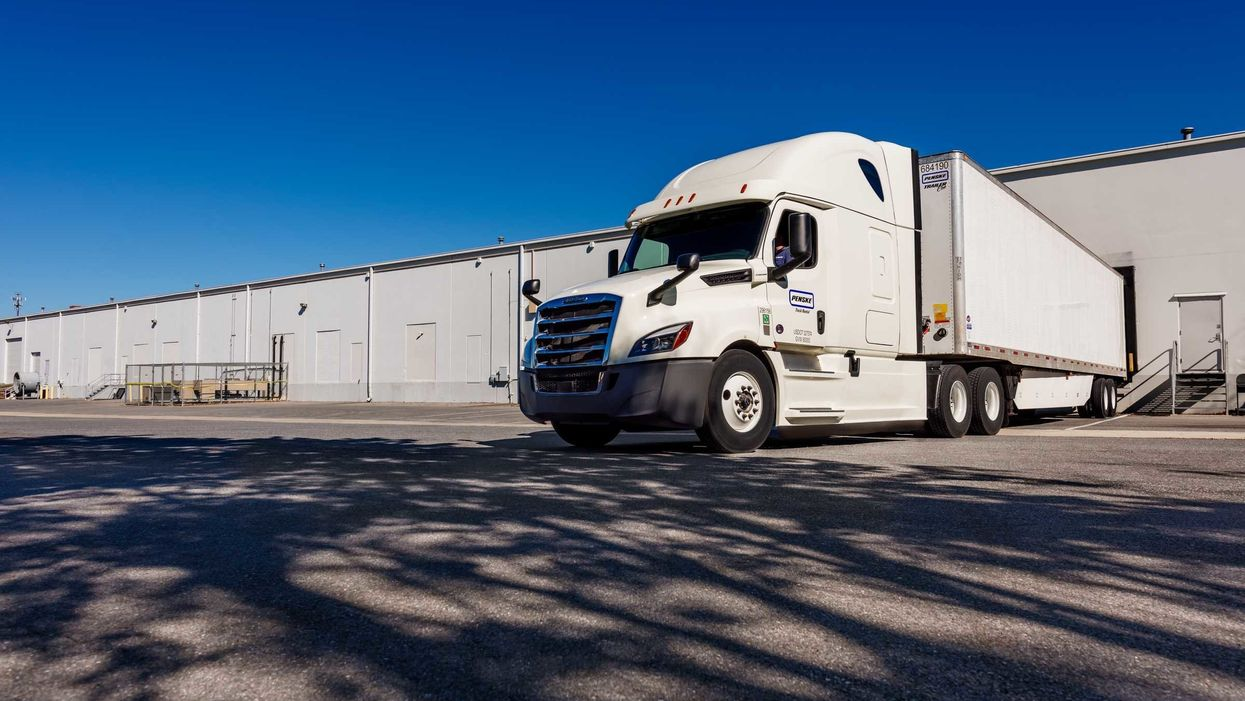 Penske tractor and trailer at warehouse